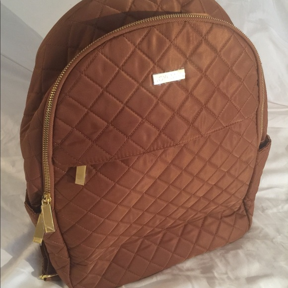 JOY IMAN Diamond Quilted Couture Nylon Backpack with RFID NEW